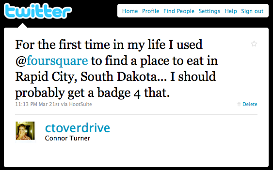 Rapid City Foursquare Usage