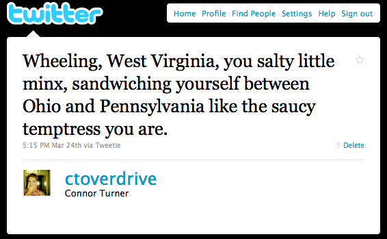 Wheeling West Virginia, You Saucy Minx